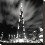 Burj Kahlifa at Night, Study 1, Dubai, UAE Stretched Canvas Print by Marcin Stawiarz
