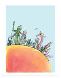 Jimmy og den store fersken Plakater af Quentin Blake