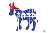 Vote Democrat Text Poster Posters