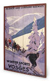 Winter sports in the Vosges Panneau en bois
