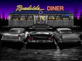 Roadside Diner - Black and White Posters tekijänä Helen Flint