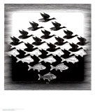 Sky and Water Print by M. C. Escher