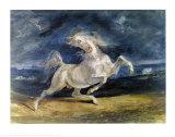Cheval effrayé par l'orage Affiche par Eugene Delacroix