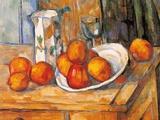 やかんとグラスと皿のフルーツ ポスター : ポール・セザンヌ