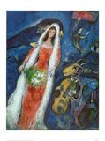 Brautleute im Dorf Kunstdruck von Marc Chagall