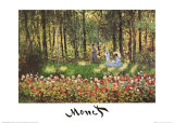 Artist's Family in the Garden at Argenteuil Poster af Claude Monet
