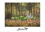 Artist's Family in the Garden at Argenteuil Poster von Claude Monet