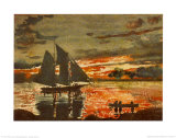 Sunset Fires Prints by Winslow Homer