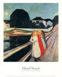 Quatre filles sur un pont Affiches par Edvard Munch