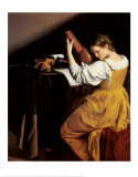 The Lute Player, c.1610 Plakat af Orazio Gentileschi