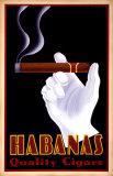 Reclameposter sigaren, met Engelse tekst: Habanas Quality Cigars Print van Steve Forney