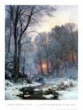 Twilit Wooded River in the Snow Print by Anders Andersen-Lundby