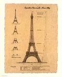 Eiffel Tower, Exposition, 1889 Plakat av Yves Poinsot