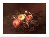 Roses and Honeysuckle on a Ledge Posters af Johan Laurentz Jensen
