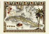 Tropical Map of Cuba Giclée-tryk