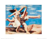 Laufende Frauen am Strand Poster von Pablo Picasso