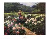 Mujer en un jardín de peonias Arte por Abbott Fuller Graves