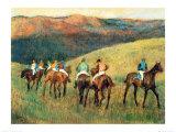 Racehorses in a Landscape Plakat af Edgar Degas