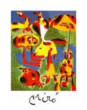 Personnages et Montagnes, c.1936 Poster av Joan Miró