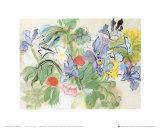 Mohnblumen mit Schwertlilie Poster von Raoul Dufy