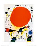 Den røde sol Posters af Joan Miró
