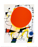 O Sol vermelho Pôsters por Joan Miró