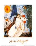 De verloofden bij de Eiffeltoren Posters van Marc Chagall