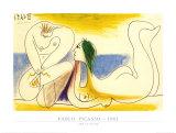 En la playa, 1961 Láminas por Pablo Picasso