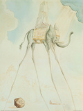 El elefante-jirafa Láminas por Salvador Dalí