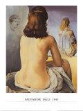 Min nakna kvinna tittar på sin egentliga kropp Affischer av Salvador Dalí