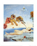 Traum, verursacht durch den Flug einer Biene um einen Granatapfel, eine Sekunde vor dem Aufwachen, ca. 1944 Kunstdruck von Salvador Dalí