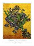 Vase of Irises Against a Yellow Background, c.1890 Art by Vincent van Gogh