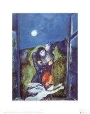 Les amoureux sous la lune Affiches par Marc Chagall