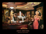 Java Dreams: Presley, Monroe, Bogart und Dean beim Billard Poster von Chris Consani