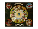 The Seven Deadly Sins And the Four Last Things, Ca. 1500 Giclée-tryk af Hieronymus Bosch
