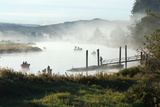 Fisherman Enjoy a Beautiful Foggy Morning Fishing Reproduction photographique par Vickie Lewis