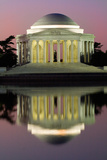 The Jefferson Memorial Sunrise Reflected in the Tidal Basin at Dawn Photographic Print by Vickie Lewis