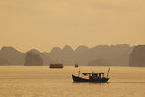 Fishing Boats in Halong Bay at Sunrise Impressão fotográfica por Alex Saberi