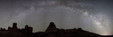 The Full Milky Way Over the Silhouetted Windows Section of Arches National Park Fotografisk tryk af Dmitri Alexander