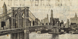 Vintage NY Brooklyn Bridge Skyline Art by Michael Mullan