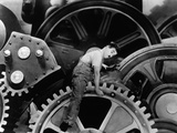"""Charlie Chaplin. """"The Masses"""" 1936, """"Modern Times"""" Directed by Charles Chaplin Fotografisk tryk"""