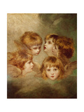 A Child's Portrait In Different Views: Angel's Heads, 1787 Giclee-trykk av Sir Joshua Reynolds