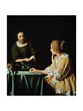 Lady With Her Maidservant Holding a Letter, 1666 Lámina giclée por Johannes Vermeer