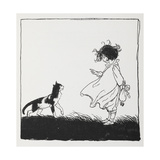 A Girl With a Doll Tells Off Her Cat Giclee Print by Arthur Rackham