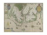 White-De Bry Map Of Virginia Giclee-trykk av John White