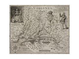 A Map Of Virginia Giclee-trykk av Johann De Bry