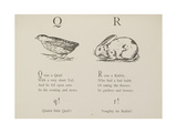 Quail and Rabbit Illustrations and Verse From Nonsense Alphabets by Edward Lear. Giclée-tryk af Lear, Edward