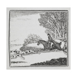 Engraving Of a Man Out Hunting On Horseback With Dogs Giclee-trykk av Thomas Bewick