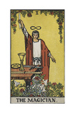 Tarot Card With a Magician Holding an Object Wearing a Red Robe, Before a Table With a Sword Giclee Print by Arthur Edward Waite