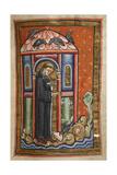 Miniature Of a Crow Bringing Lard To Cuthbert Giclée-tryk af  Bede